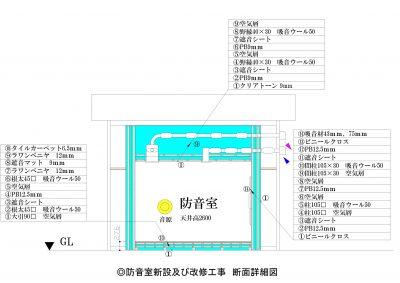 H◎防音室新設及び改修工事 断面詳細図